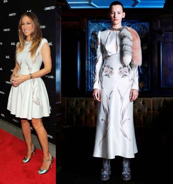 sarah-jessica-parker-aol-newfronts-red-carpet-alexander-mcqueen-prefall-2014-dress