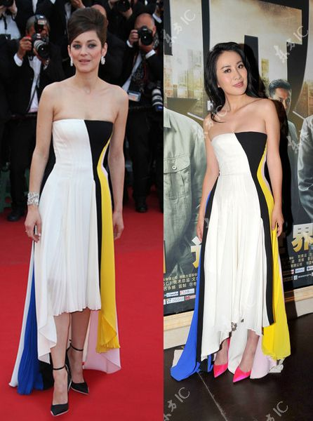 marion-cotillard-michelle-ye-christian-dior-resort-2014-strapless-dress