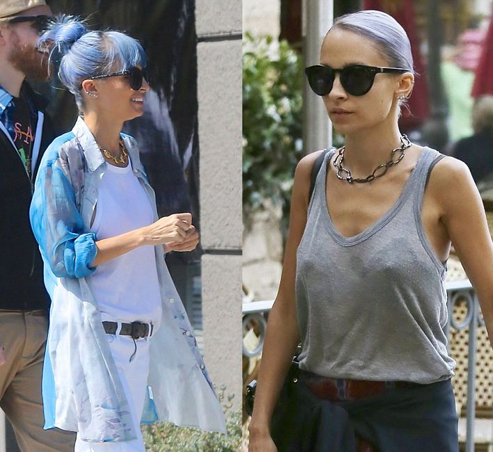 Nicole Richie went from blue strands to lavender hair again in the same weekend!