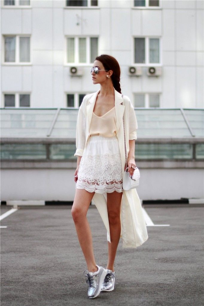 Tina Sizonova in How to top a bohemian look with silver sneakers