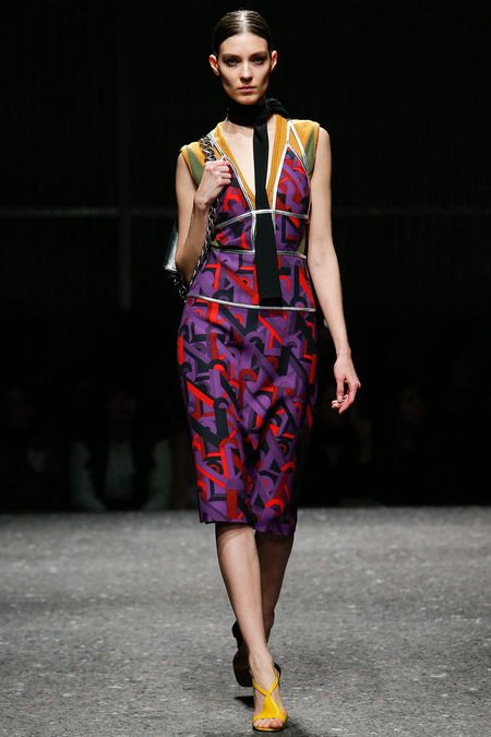Lupita is wearing Prada fall/Winter 2014-15 print dress