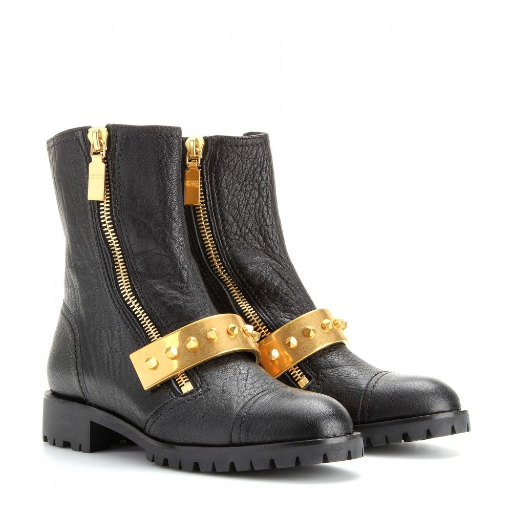 P00086317-Metal-trimmed-textured-leather-biker-boots--STANDARD