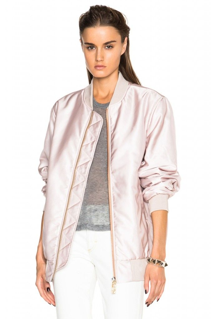 UPDATED: Acne Studios FW15 powder pink bomber jacket available at FORWARD BY ELYSE WALKER