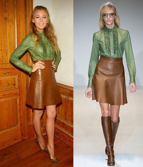 blake-lively-in-gucci-fall-winter-2014-15-leather-skirt-and-green-shirt