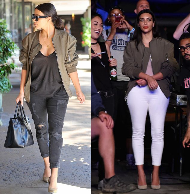 kim-kardashian-military-green-bomber-jacket-looks