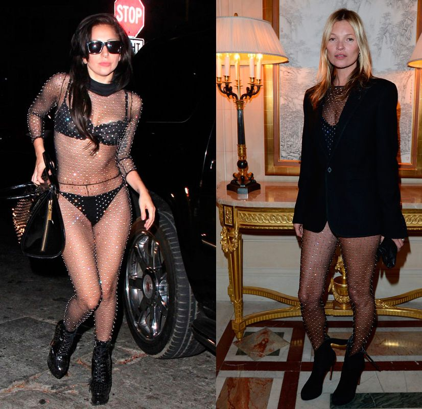 Pretty much the same as Lady Gaga and Kate Moss in Saint Laurent, huh?