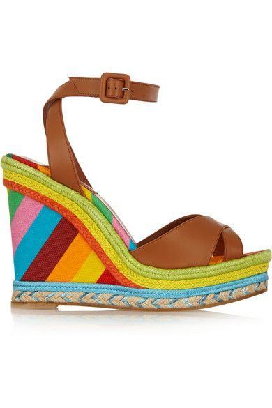 Valentino 1973 printed leather-raffia and canvas wedge sandals available at NET-A-PORTER