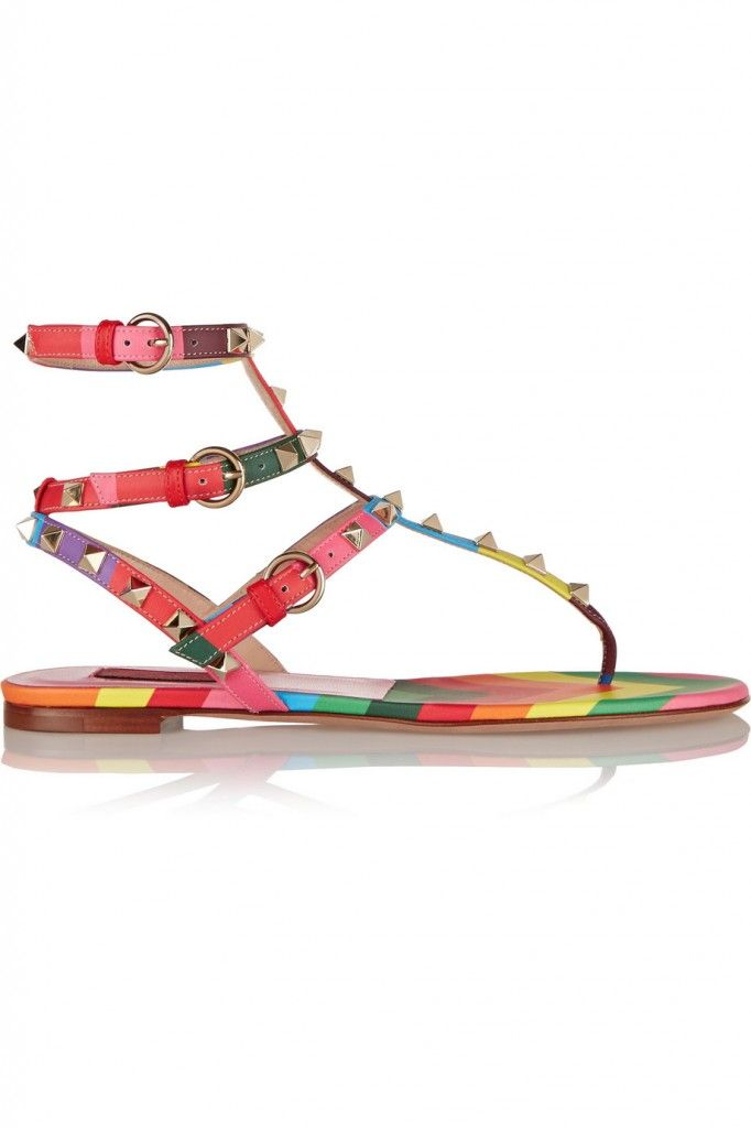 Valentino 1973 Rockstud printed leather sandals available at NET-A-PORTER