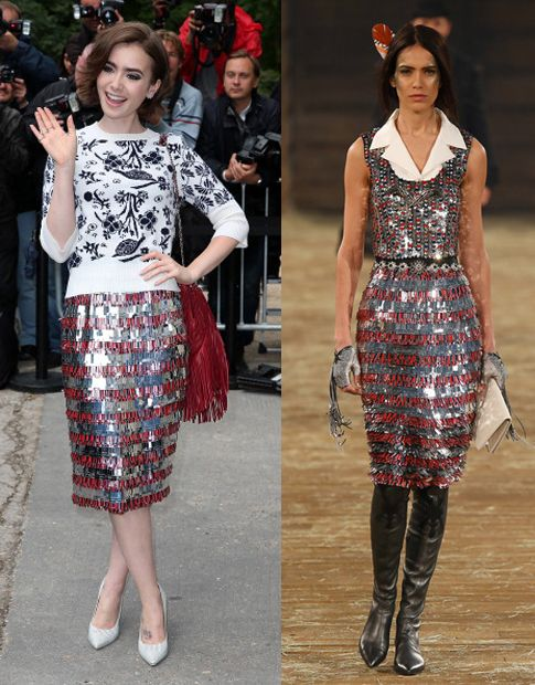 Lily Collins in Chanel Pre-Fall 2014