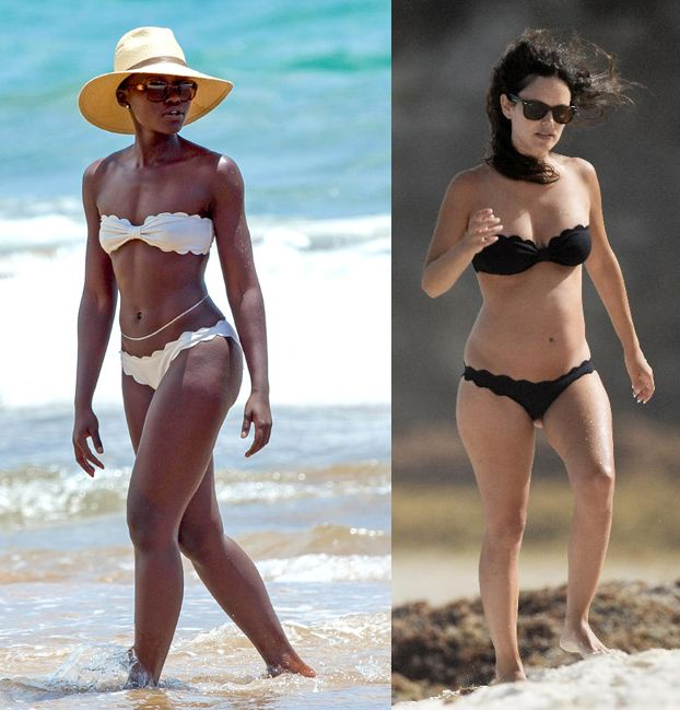 lupita-nyongo-and-rachel-bilson-wearing-same-marysia-swim-antibes-bikini-at-the-beach