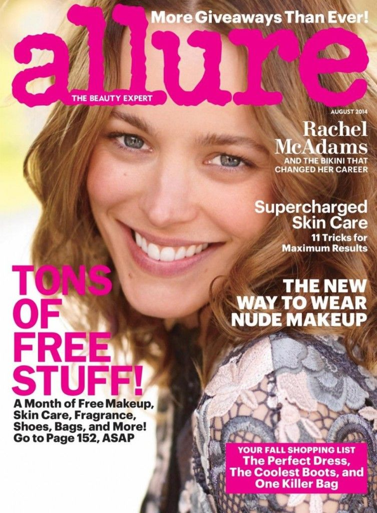 Rachel on the cover of Allure August 2014 issue
