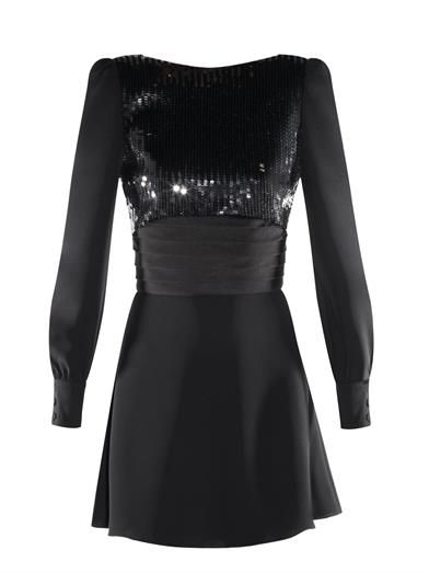 5- Saint Laurent sequin-embellished black mini dress