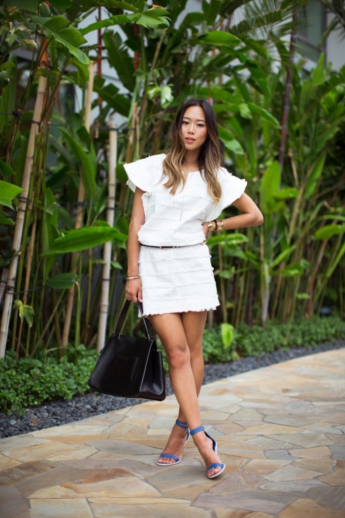 song_of_style_white_denim_dress_tibi_heels