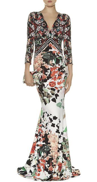 Roberto-Cavalli-Floral-Crepe-Gown