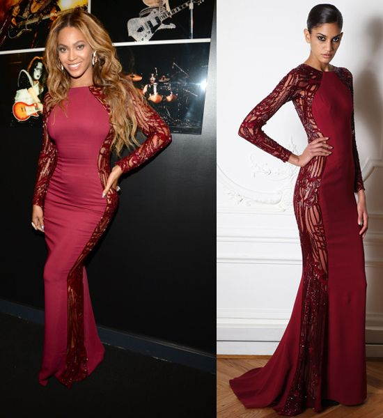 Beyoncé poses backstage at the #Vmas in a Zuhair Murad FW14 gown