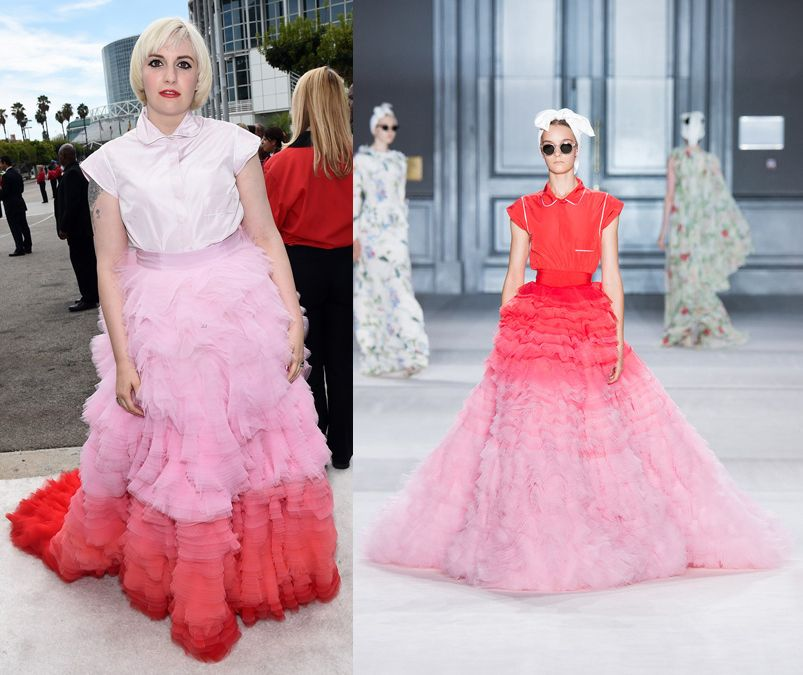 lena-dunham-pink-giambattista-vallli-at-the-emmys-2014-red-carpet