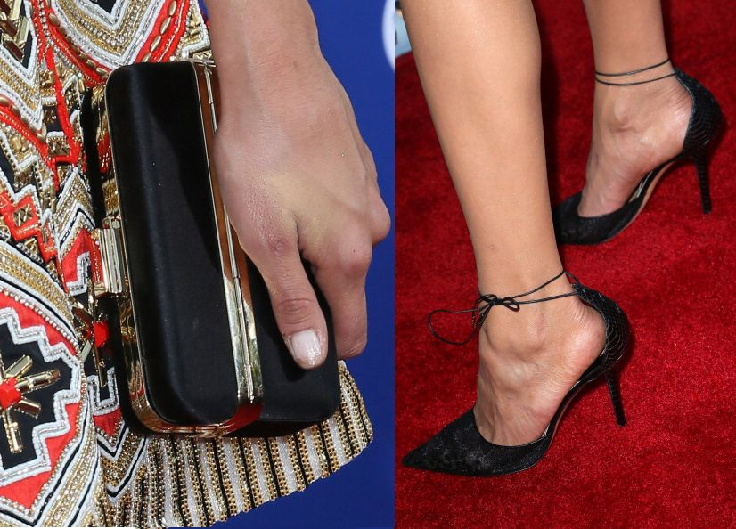 Love her Salvatore Ferragamo accessories (clutch and pumps)