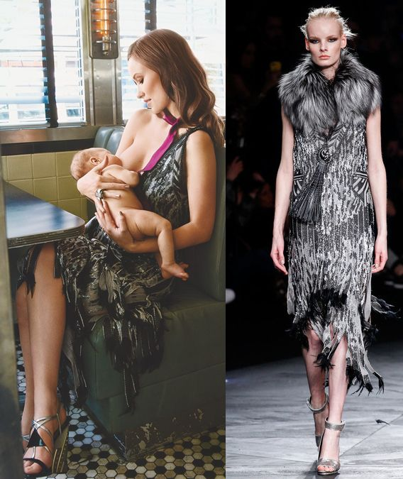 olivia-wilde-breastfeeds-her-son-otis-for-glamour-september-2014-in-a-roberto-cavalli-dress