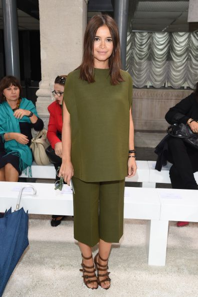 Miroslava pulling off a pair of culotte pants while attending the Missoni SS15 Fashion Show in Milan