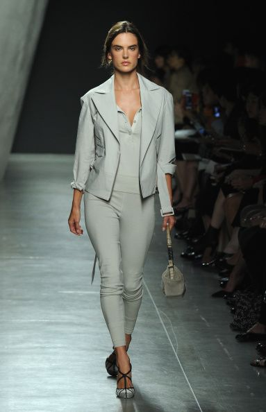 Alessandra Ambrosio walking the runway at Bottega Veneta SS15 Fashion Show