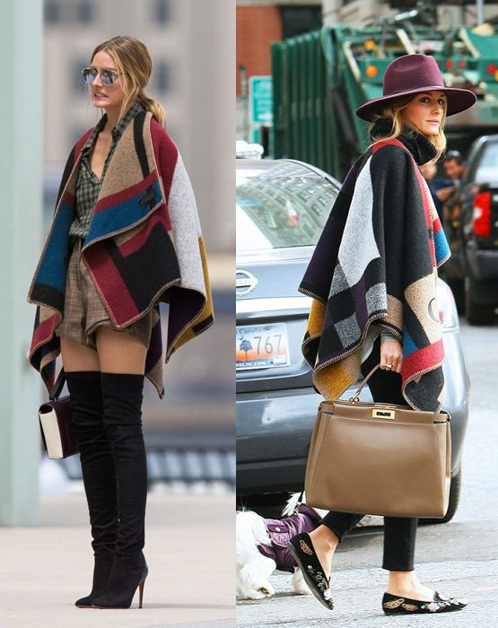 Olivia-Palermo-wears-burberry-prorsum-colour-block-check-blanket-poncho