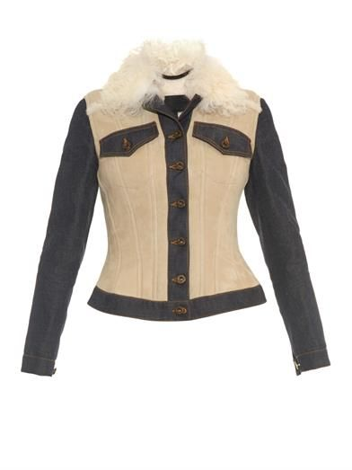 Burberry Prorsum denim panel shearling jacket available at MATCHESFASHION.com