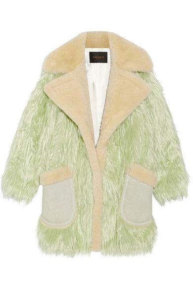 Coach fluff shearling trimmed faux fur coat available at NET-A-PORTER
