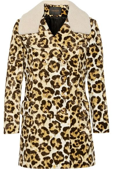 + Coach Le Fauve shearling-trimmed printed faux fur coat