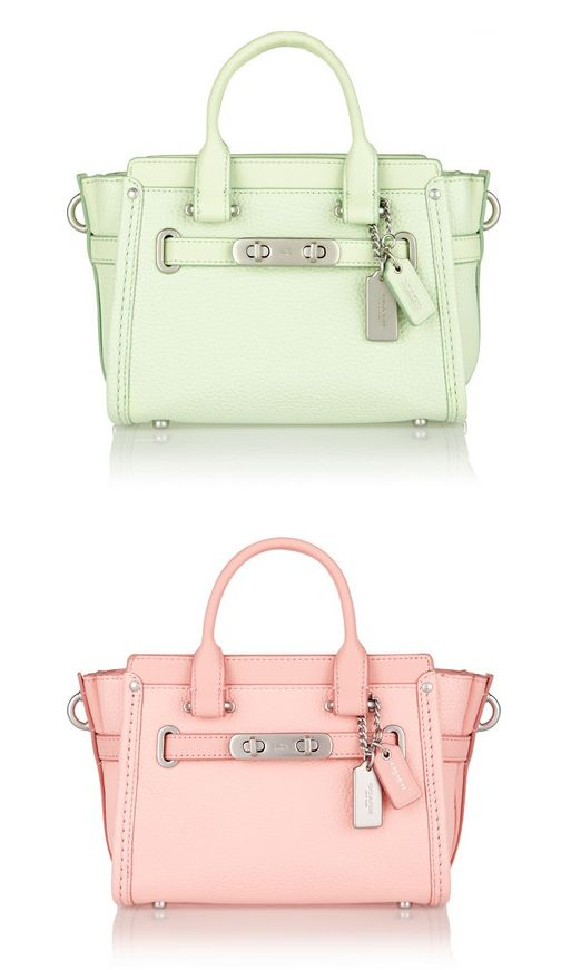 MATCHING BAGS: Coach Swagger 20 mini pastel textured-leather tote available in pink and green at NET-A-PORTER