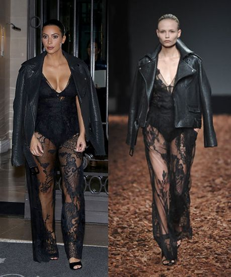 Kim Kardashian at the Givenchy SS15 Fashion Show during Paris Fashion Week