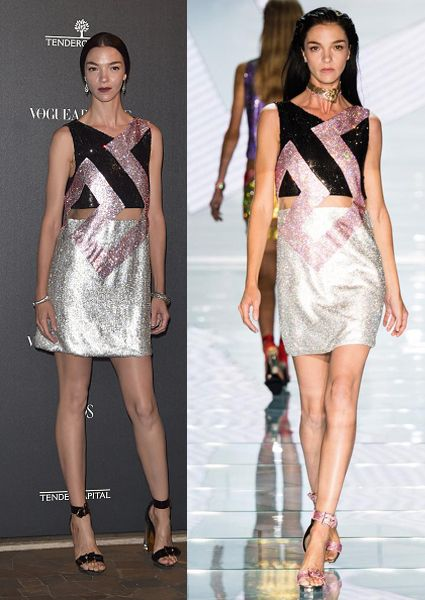 Mariacarla Boscono in Versace SS15 up on and down the catwalk