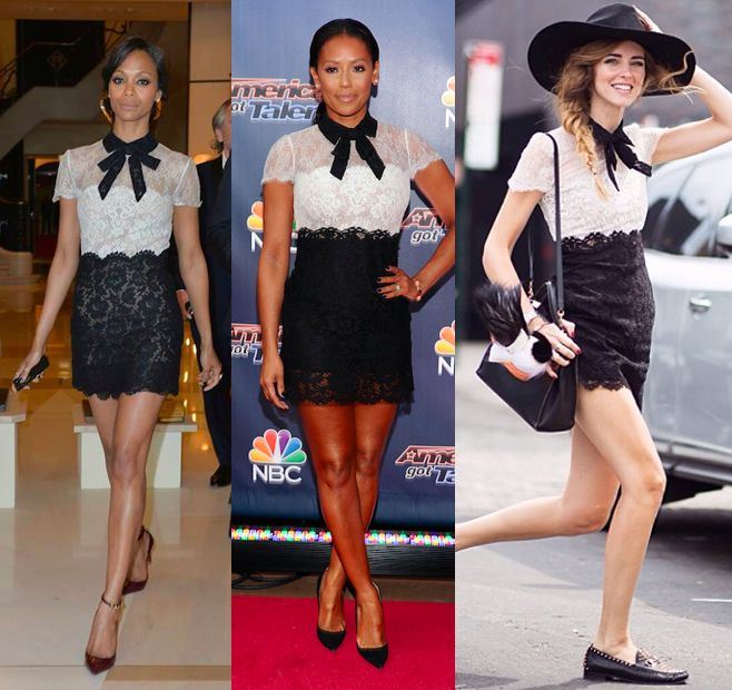 valentino-pre-falll-2014-white-and-black-lace-dress-with-bow-zoe-saldana-chiara-ferragni