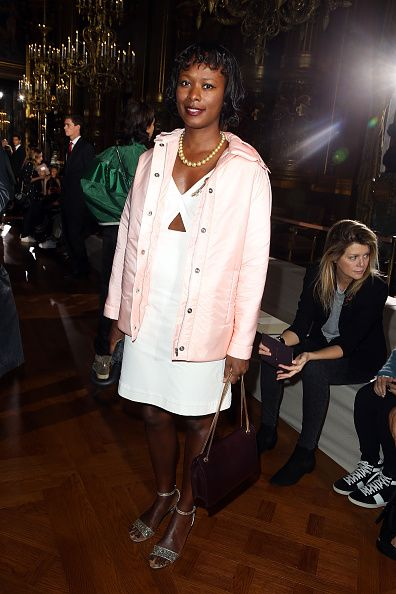 Shala Monroque wore the same jacket at the Stella McCartney SS15 Fashion Show