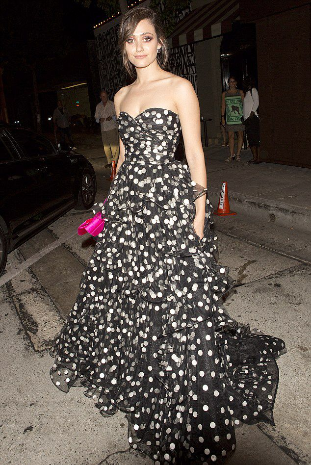 emmy-rossum-in-oscar-de-la-renta-black-and-white-polka-dot-strapless-gown