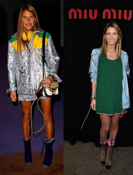 Anna dello Russi and Helena Bordon in Miu Miu FW14 druing Fashion Weeks SS15