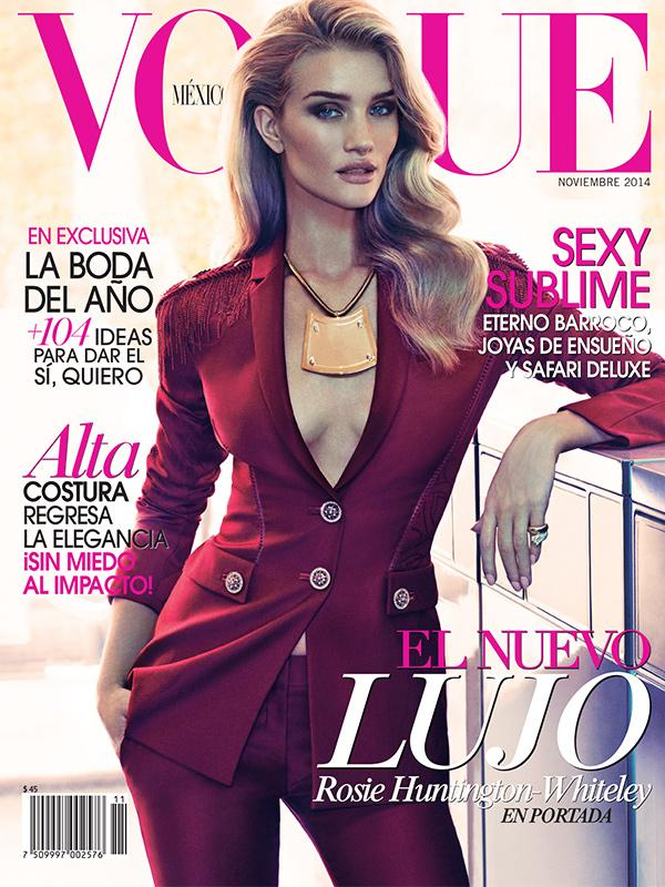Rosie Huntington-Whiteley wering Versace FW14 on the cover of Vogue Mexico November 2014