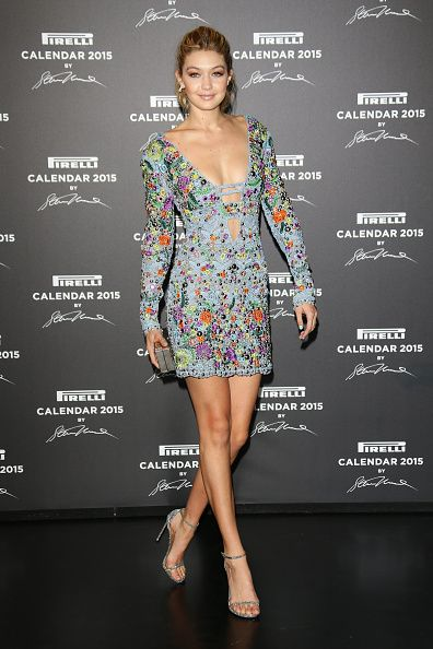 Gigi Hadid in Emilio Pucci SS15 at the 2015 Pirelli Calendar Red Carpet on November 18, 2014 in Milan, Italy.