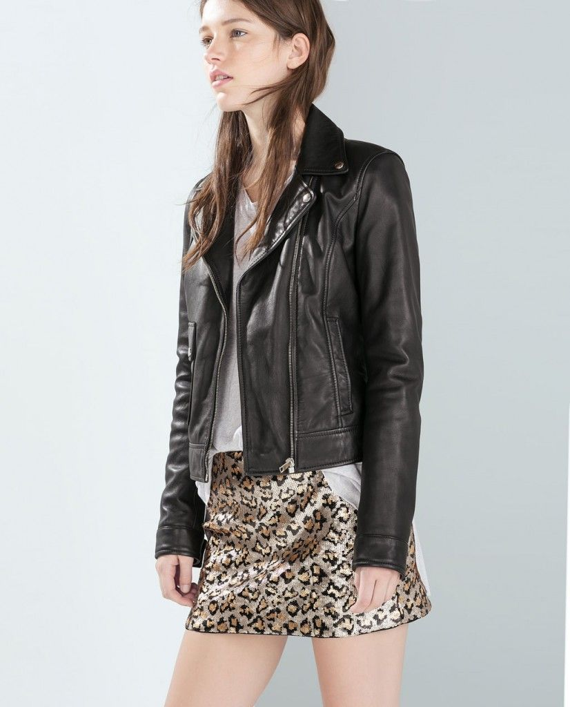 Zara sequinned leopard mini skirt