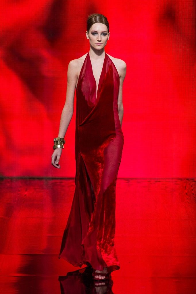 Donna-Karan-fw14-ruby-velvet-and-chiffon-halter-gown