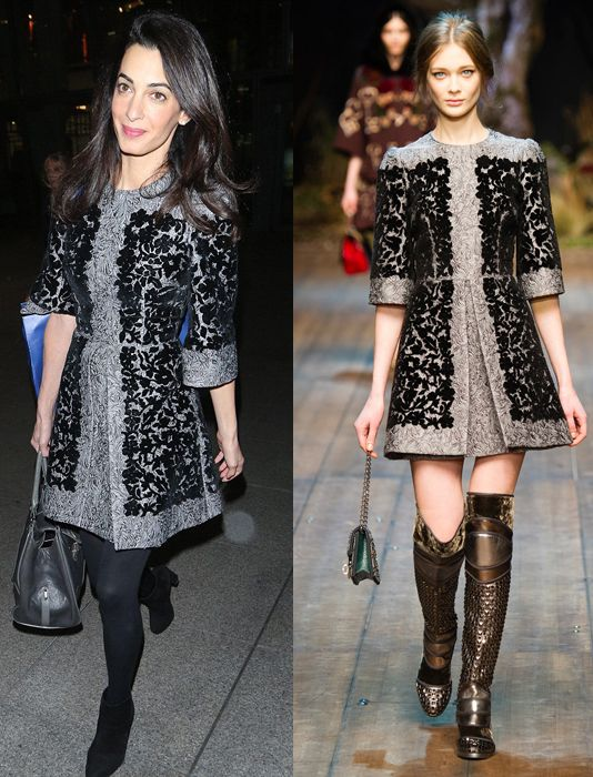 amal-alamuddin-in-doce-gabbana-flocked-metallic-matelasse-mini-dress