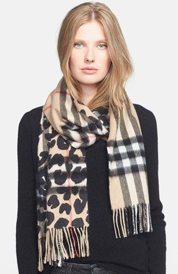 burberry-check-animal-print-cashmere-scarf