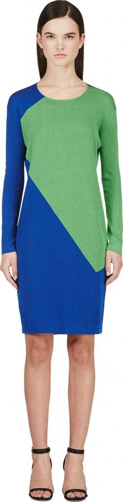 calvin-klein-blue-green-intarsia-long-sleeve-dress cybermonday-final-sale