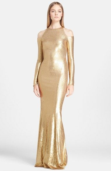 donna-karan-collection-cold-shoulder-long-sleeve-sequin-dress