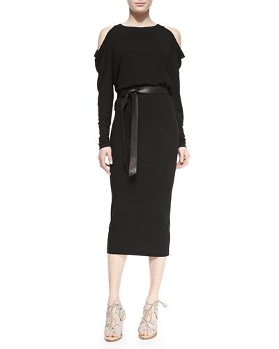 donna-karan-long-sleeve-cold-shoulder-dress