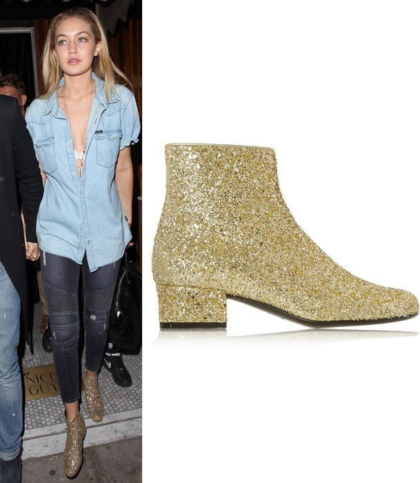 gigi-hadid-saint-laurent-glitter-finished-leather-ankle-boots