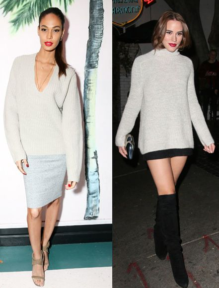 Joan Smalls and Christa B. Allen upgrad their chunky nights with pencil skirts and over-the-knee boots