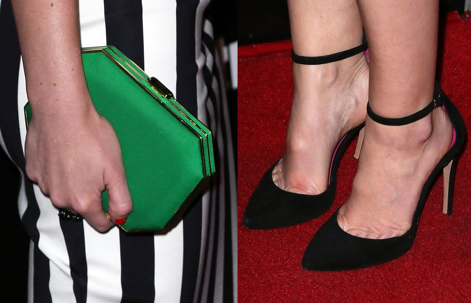 Her clutch was Amanda Pearl and her ankle strap pumps by Oscar Tye