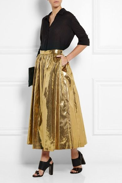msgm-pleated-lame-skirt