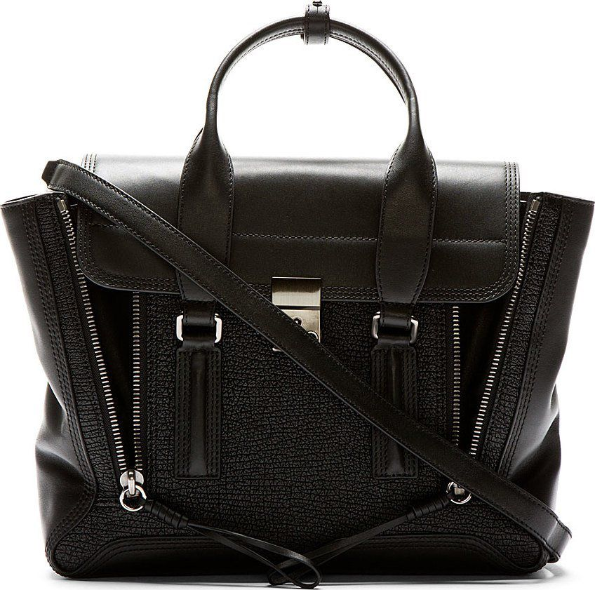 phillip-lim-black-leather-pashli-medium-satchel-sale-cybermonday