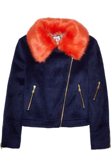 shrimps-Agnes-faux-fur-trimmed-brushed-felt-biker-jacket
